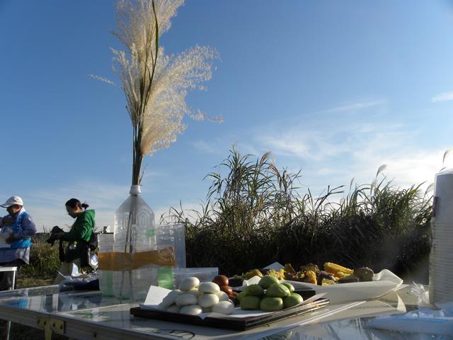 そしてお楽しみのオギの穂波祭り!オギの穂を飾っておまんじゅうやお菓子、おいもを供えます。