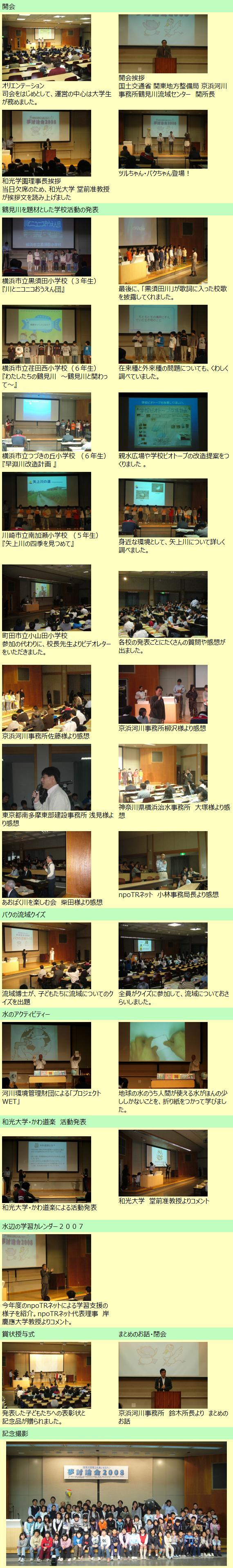 2/23 夢討論会2008<鶴見川流域ふれあいセミナー>